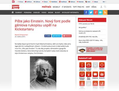 2015-05-22 Pište jako Einstein. Nový font podle géniova rukopisu uspěl na Kickstarteru – Živě.cz - ZIVE-Web