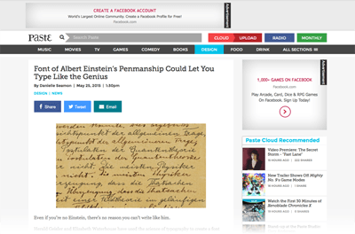 2015-05-25 Font of Albert Einstein's Penmanship Could Let You Type Like the Genius - Design - News - Paste-Web