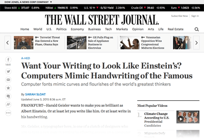 2015-06-03 Want Your Writing to Look Like Einsteins. Computers Mimic Handwriting of the Famous - WSJ- Web