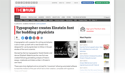 2015-06-05 Typographer creates Einstein font for budding physicists - The Drum -Web