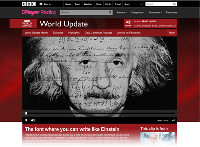 2015-06-09 BBC World Service - World Update, The font where you can write like Einstein - BBC World Service-Web