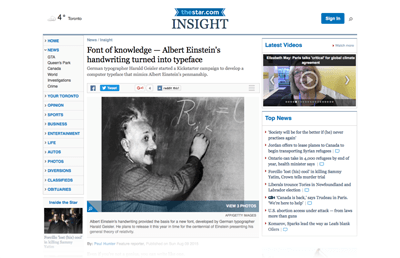 2015-08-09 Font of knowledge — Albert Einstein's handwriting turned into typeface -Toronto Star-Web