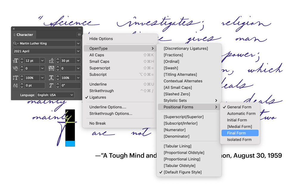 Martin-Luther-King-handwriting-font advanced features in InDesign